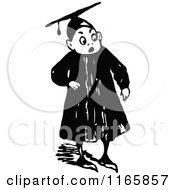 Retro Vintage Black And White Surprised Graduate Boy
