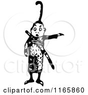 Clipart Of A Retro Vintage Black And White Asian Boy Pointing Royalty Free Vector Illustration