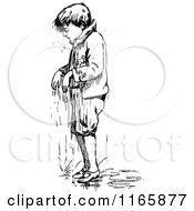 Clipart Of A Retro Vintage Black And White Wet Boy Royalty Free Vector Illustration