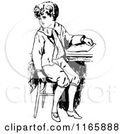 Retro Vintage Black And White Boy Sitting At A Desk