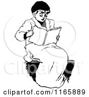 Clipart Of A Retro Vintage Black And White Boy Reading Royalty Free Vector Illustration