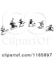 Clipart Of Retro Vintage Black And White Boys Running 2 Royalty Free Vector Illustration by Prawny Vintage