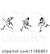 Clipart Of Retro Vintage Black And White Boys Running Royalty Free Vector Illustration by Prawny Vintage