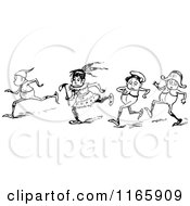 Clipart Of Retro Vintage Black And White Boys Royalty Free Vector Illustration by Prawny Vintage