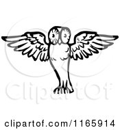 Clipart Of A Retro Vintage Black And White Flying Owl Royalty Free Vector Illustration by Prawny Vintage