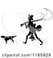 Clipart Of A Silhouetted Man With A Smoking Rifle Hunting Dog And Bird Royalty Free Vector Illustration