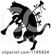 Clipart Of A Silhouetted Cat With Bagpipes Royalty Free Vector Illustration
