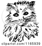 Clipart Of A Retro Vintage Black And White Cat 5 Royalty Free Vector Illustration