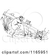 Clipart Of Retro Vintage Black And White Cats With A Board Over Water Royalty Free Vector Illustration