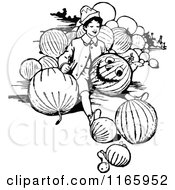 Clipart Of A Retro Vintage Black And White Boy Carving A Pumpkin Royalty Free Vector Illustration
