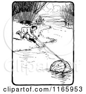 Clipart Of A Retro Vintage Black And White Boy Fishing A Pumpkin Head From A Stream Royalty Free Vector Illustration by Prawny Vintage