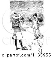 Retro Vintage Black And White Children Talking In A Field