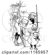 Clipart Of A Retro Vintage Black And White Boy And Girls Looking In A Well Royalty Free Vector Illustration