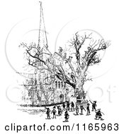 Clipart Of Retro Vintage Black And White Boys Climbing A Tree Royalty Free Vector Illustration by Prawny Vintage