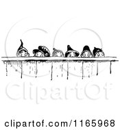 Clipart Of A Retro Vintage Black And White Group Of Gnome Boys Looking Over A Fence Royalty Free Vector Illustration