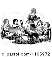 Retro Vintage Black And White Children Sitting
