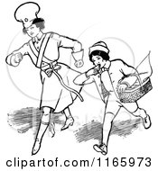 Clipart Of A Retro Vintage Black And White Boy And Girl Running Royalty Free Vector Illustration by Prawny Vintage