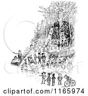 Clipart Of Retro Vintage Black And White Boys Playing In The Woods Royalty Free Vector Illustration