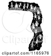 Clipart Of A Retro Vintage Black And White Border Of Boys Walking Royalty Free Vector Illustration