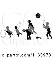 Clipart Of Silhouetted Children Playing Ball Leap Frog And Hula Hoops Royalty Free Vector Illustration by Prawny Vintage