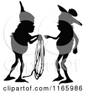 Silhouetted Gnome Boys Passing Rope