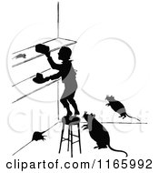 Silhouetted Boy In A Kitchen With Rats