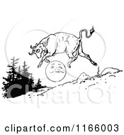 Clipart Of A Retro Vintage Black And White Cow Jumping Over The Moon Royalty Free Vector Illustration by Prawny Vintage