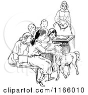 Clipart Of A Retro Vintage Black And White Teacher Students And Lamb 2 Royalty Free Vector Illustration by Prawny Vintage