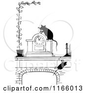 Clipart Of A Retro Vintage Black And White Clock And Rats Royalty Free Vector Illustration by Prawny Vintage