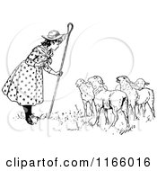 Clipart Of Retro Vintage Black And White Little Bo Peep Talking To Her Sheep Royalty Free Vector Illustration by Prawny Vintage