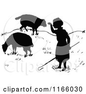 Clipart Of A Silhouetted Little Bo Peep And Sheep Royalty Free Vector Illustration by Prawny Vintage