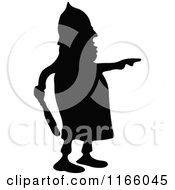 Clipart Of A Silhouetted Police Man Pointing Royalty Free Vector Illustration by Prawny Vintage