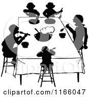 Clipart Of Silhouetted People Eating At A Table Royalty Free Vector Illustration