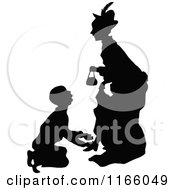 Clipart Of A Silhouetted Man Begging To A Woman Royalty Free Vector Illustration