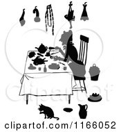 Clipart Of A Silhouetted Lady Sitting At A Table Royalty Free Vector Illustration