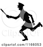 Clipart Of A Silhouetted Constable Running With A Baton Royalty Free Vector Illustration by Prawny Vintage