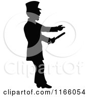 Silhouetted Constable Pointing And Holding A Baton