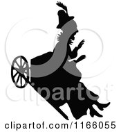 Clipart Of A Silhouetted Old Woman In A Ricksaw Royalty Free Vector Illustration