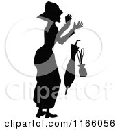 Clipart Of A Silhouetted Scared Old Woman Dropping Items Royalty Free Vector Illustration