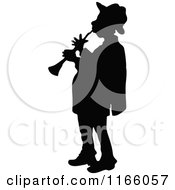 Clipart Of A Silhouetted Male Musician Playing A Horn Royalty Free Vector Illustration