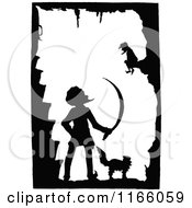 Clipart Of A Silhouetted Cat And Men In A Cave Royalty Free Vector Illustration by Prawny Vintage