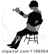 Clipart Of A Silhouetted Man Smoking A Pipe And Sitting Royalty Free Vector Illustration