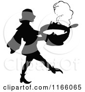 Clipart Of A Silhouetted Man Carrying A Pot Of Stew Royalty Free Vector Illustration by Prawny Vintage