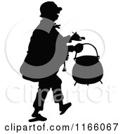 Clipart Of A Silhouetted Man Carrying A Pot Royalty Free Vector Illustration by Prawny Vintage
