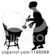 Clipart Of A Silhouetted Woman With A Pot Of Food Royalty Free Vector Illustration by Prawny Vintage
