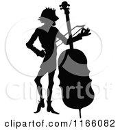 Clipart Of A Silhouetted Male Musician Standing With A Cello Royalty Free Vector Illustration by Prawny Vintage