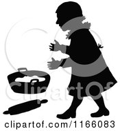 Clipart Of A Silhouetted Girl With A Pan And Rolling Pin Royalty Free Vector Illustration by Prawny Vintage