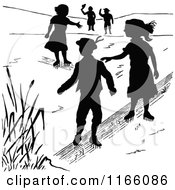 Clipart Of Silhouetted Children Ice Skating Royalty Free Vector Illustration