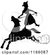 Silhouetted Woman Standing On A Horse