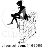 Clipart Of A Silhouetted Jester Sitting On A Stone Wall Royalty Free Vector Illustration by Prawny Vintage